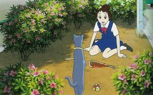 Haru in garden with cat The Cat Returns 2002 animatedfilmreviews.blogspot.com