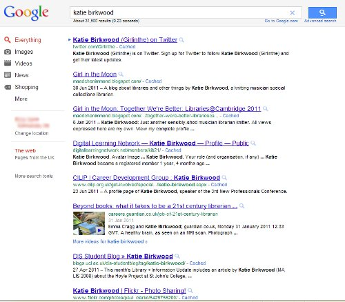 Screenshot of a Google search for Katie Birkwood.