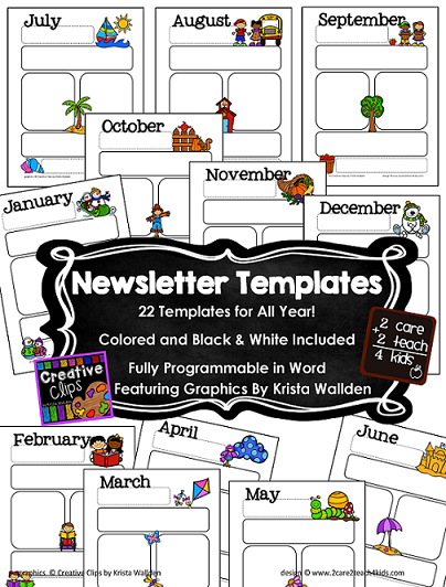 2care2teach4kids: New New New! Calendars & Newsletter Templates ...