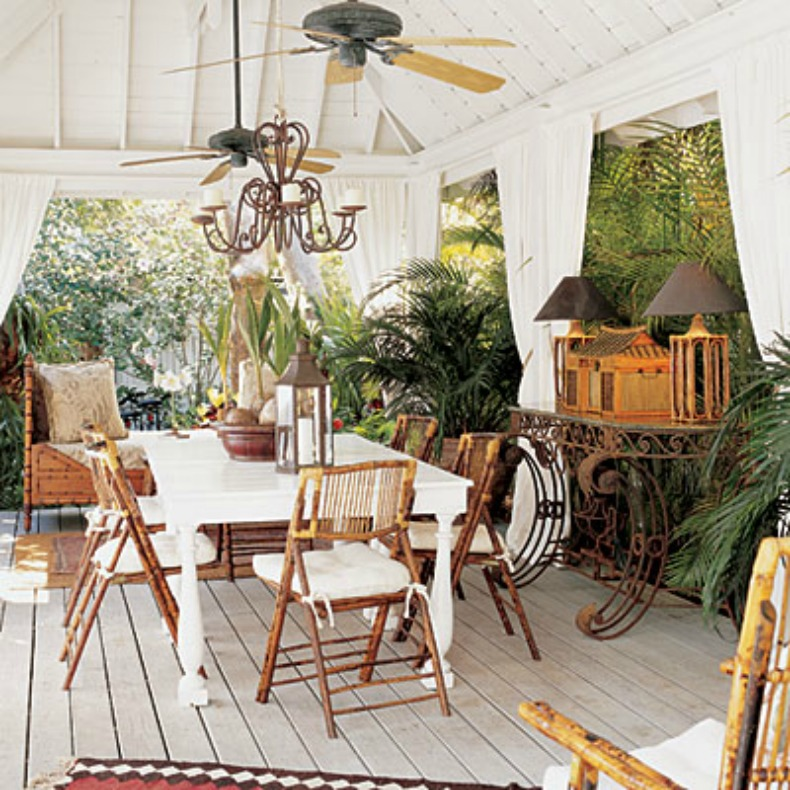 tropical outdoor dining room