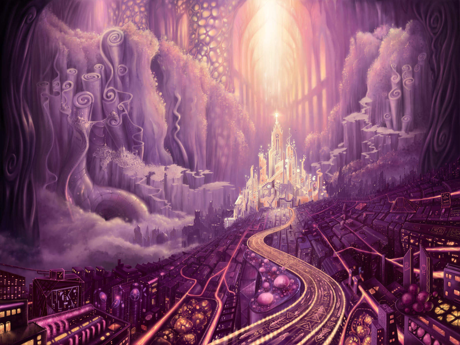 Purple Fantasy Castles Wallpapers