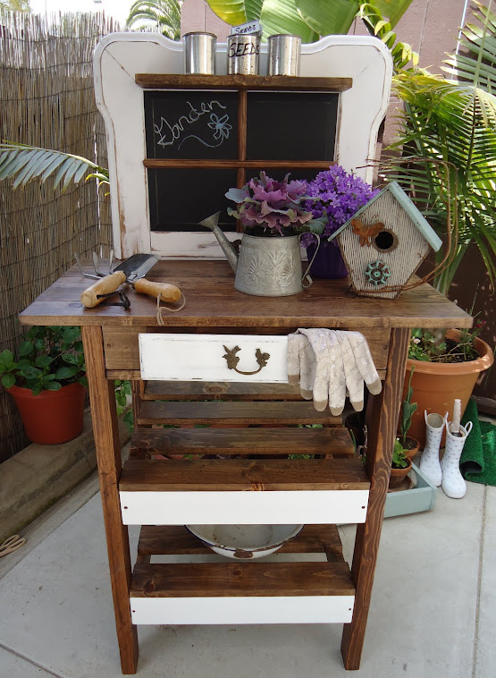 Chalkboard Potting/Display Bench Using an Old Coffee Table and Desk Remnants -SOLD