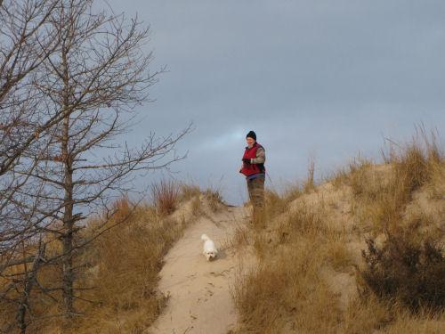 hiker on dune