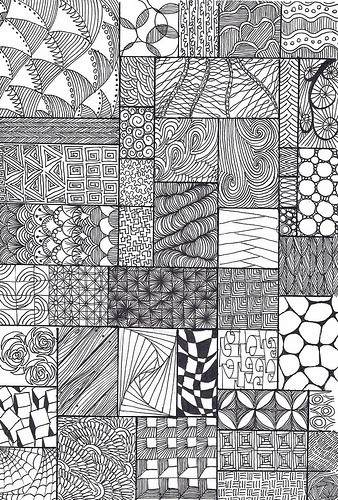 Line Drawing Newspaper : Zentangle