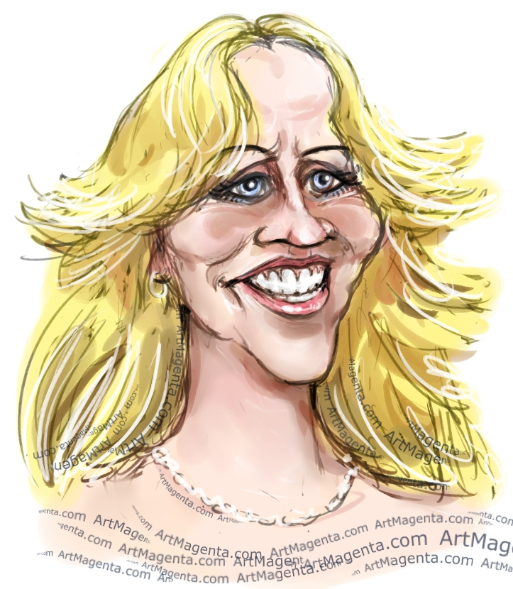 Agnetha Fältskog  caricature cartoon. Portrait drawing by caricaturist Artmagenta