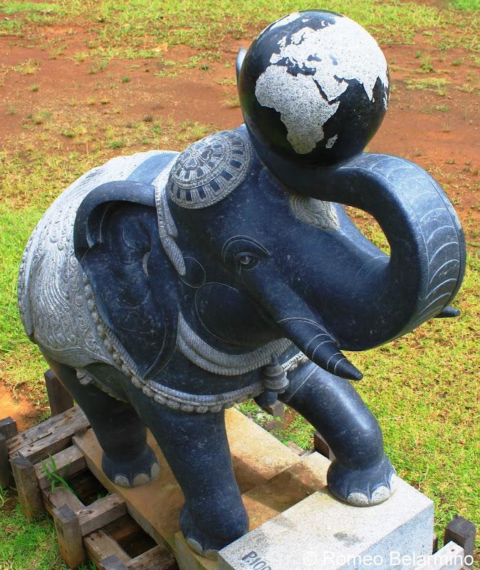 Elephant with Globe Kauai's Hindu Monastery Hawaii