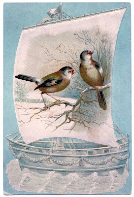 Vintage Image Winter Birds Sailboat