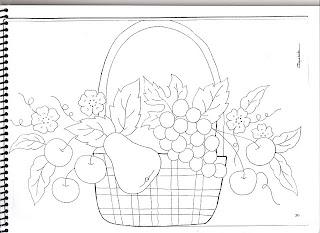 cesta com uvas peras e cerejas
