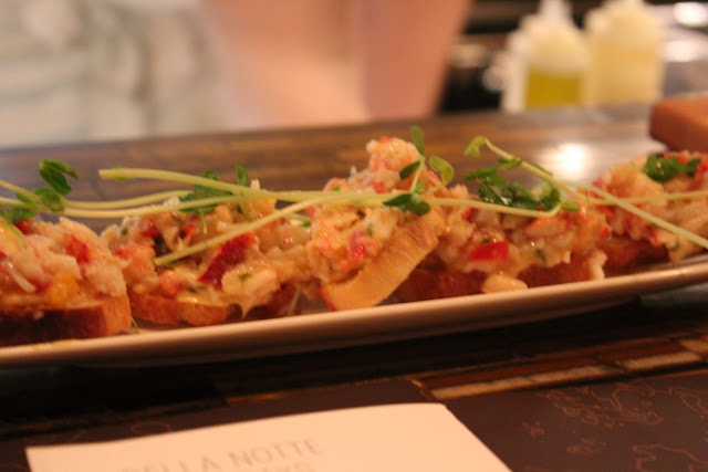 Lobster and truffle crostini at Aragosta Bar + Bistro, Boston, Mass.
