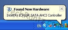 screenshot of new hardware found after AHCI install