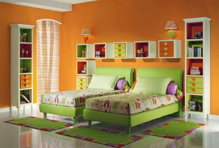 غرفة نوم اطفال باللون البرتقالي