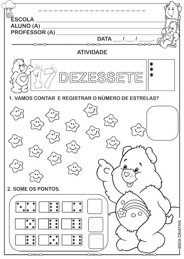 Atividade Numeral 17 Ursinhos Carinhosos contando registrando e somando