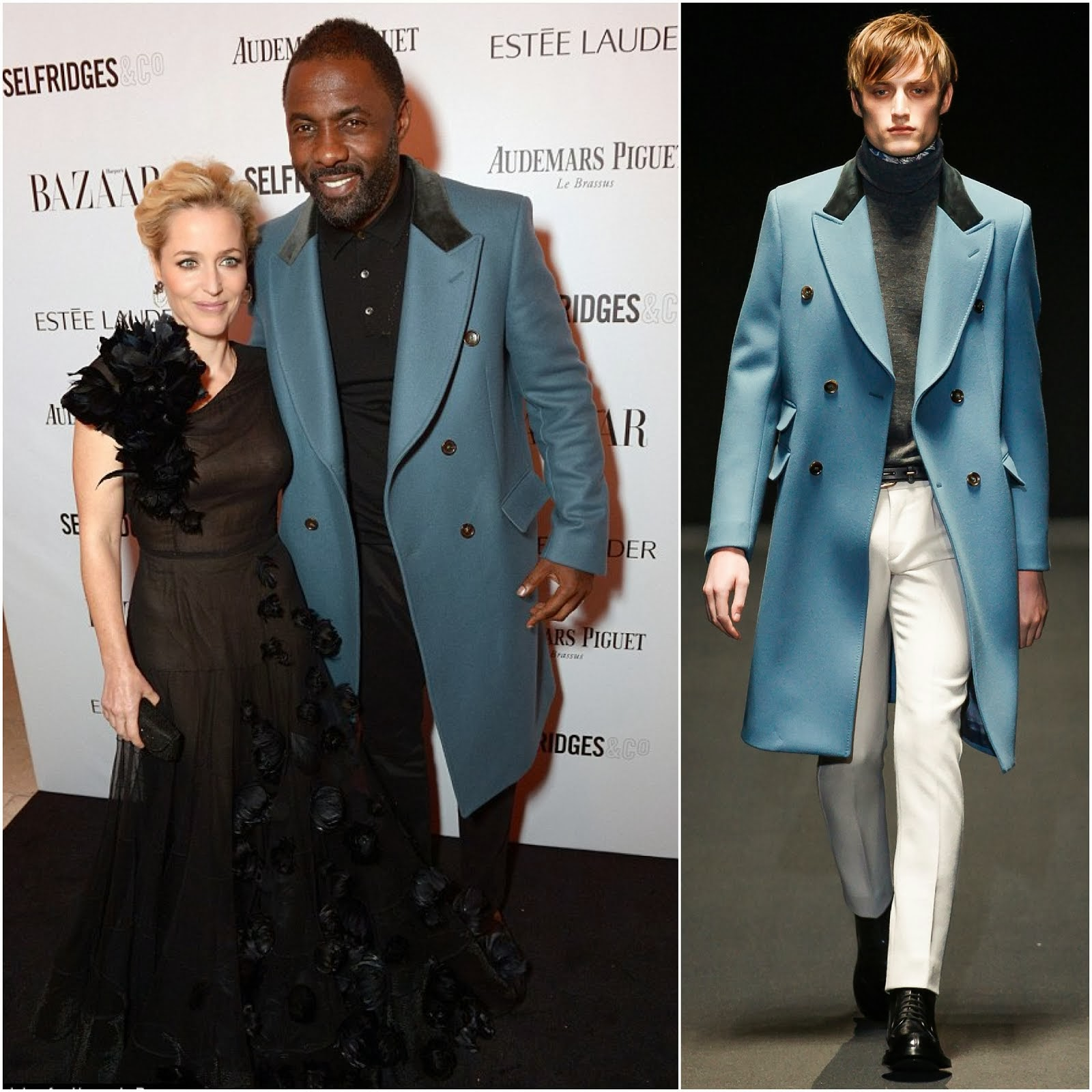 00O00 Menswear Blog: Idris Elba in Gucci blue coat - Harper's Bazaar Women of the Year Awards, London Nov 2013