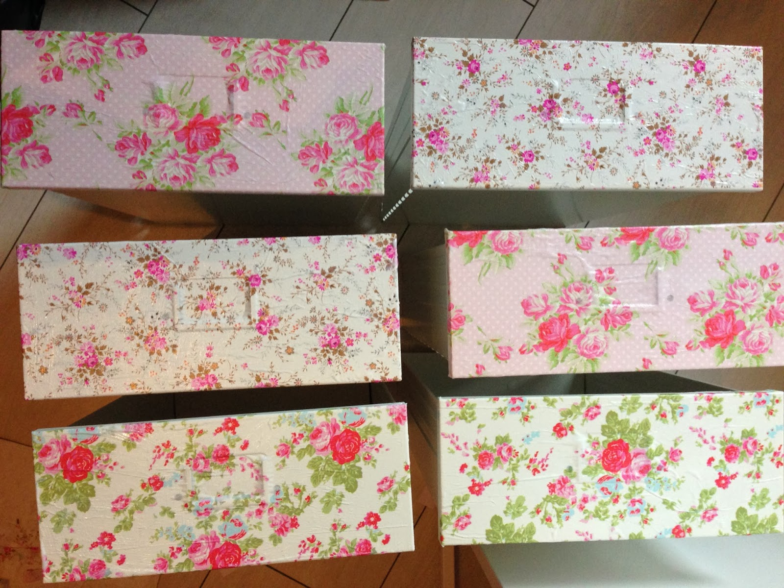 ikea helmer drawers with floral paper decoupage