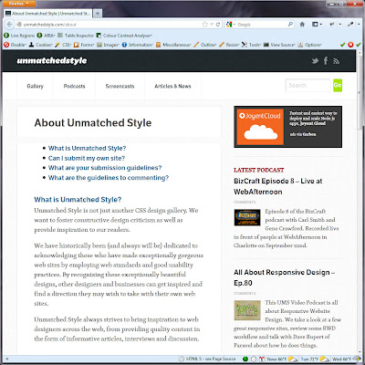 Screen shot of http://unmatchedstyle.com/about.