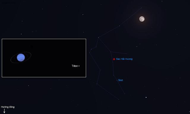Mặt Trăng và Sao Hải Vương xuất hiện ở chòm sao Aquarius vào ngày 24/7.
