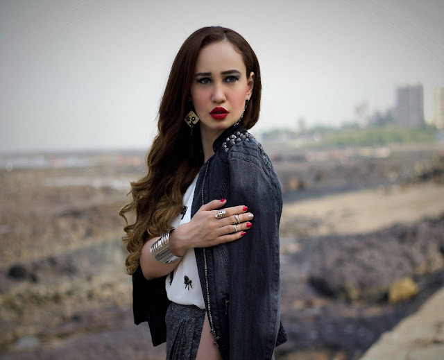 ONLY Denim Biker Jacket, Embellished White Top, Grey Drape Skirt, edgy Party Look, silver cuff bracelet, MAC Russian Red Lipstick
