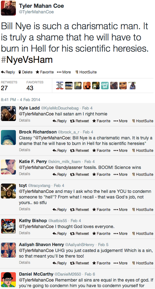 screenshot of Tyler Coe's viral Creation Debate tweet and responses