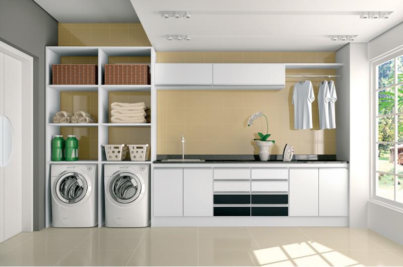Construindo minha casa clean lavanderias lindas modernas for Muebles para lavanderia de casa