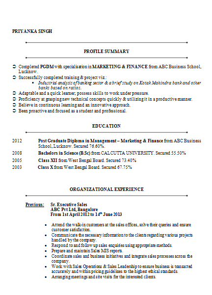 MBA Marketing & Finance Resume Sample Doc