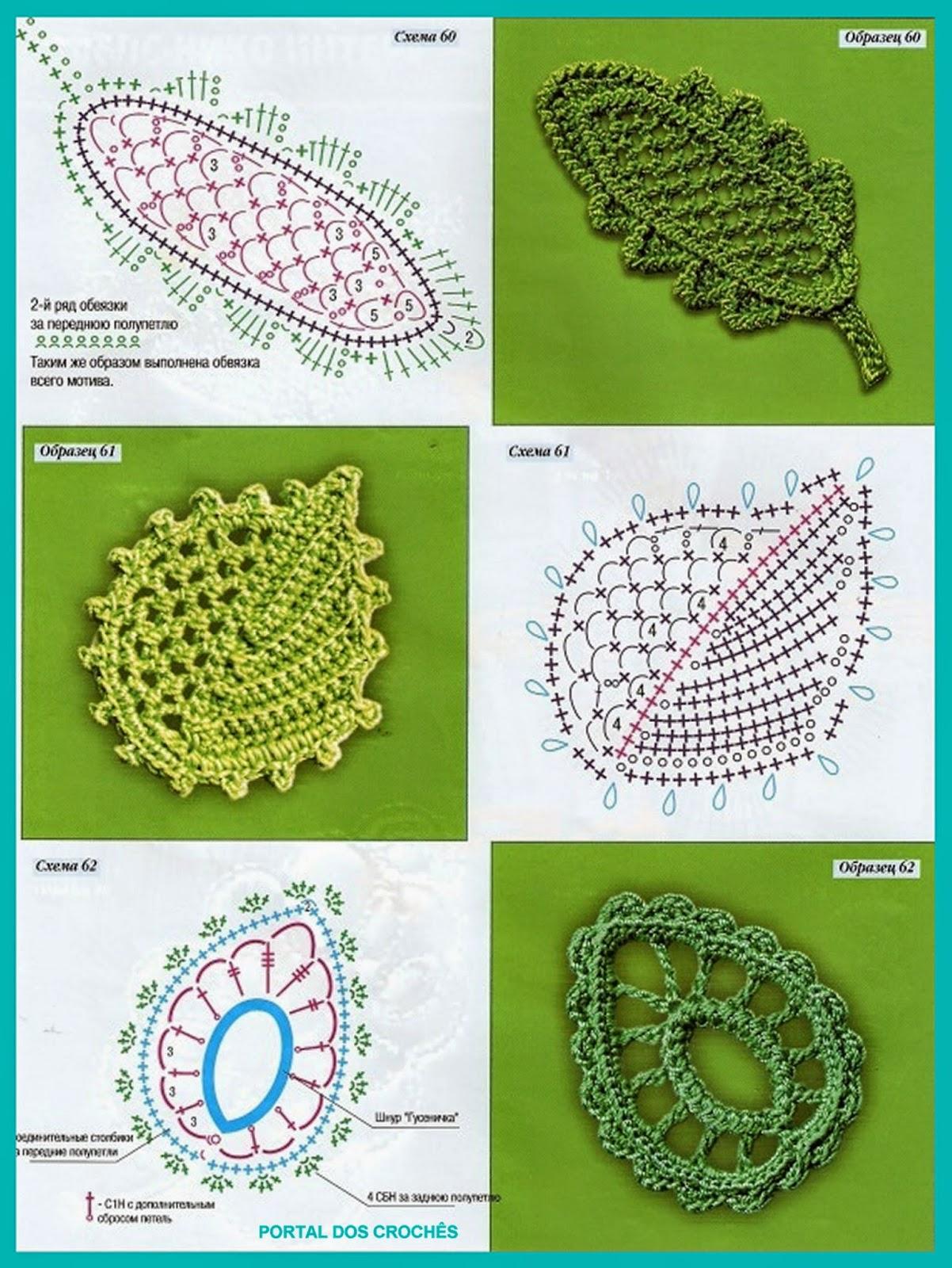 Free Crochet Fern Leaf Pattern : PORTAL DOS CROCH?S: FLORES E FOLHAS DE CROCH? PARA APLICAc?ES