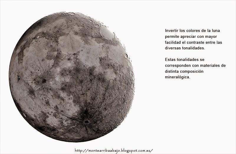 Imagen de colores invertidos de la luna resultado del apilado de 15 imágenes.