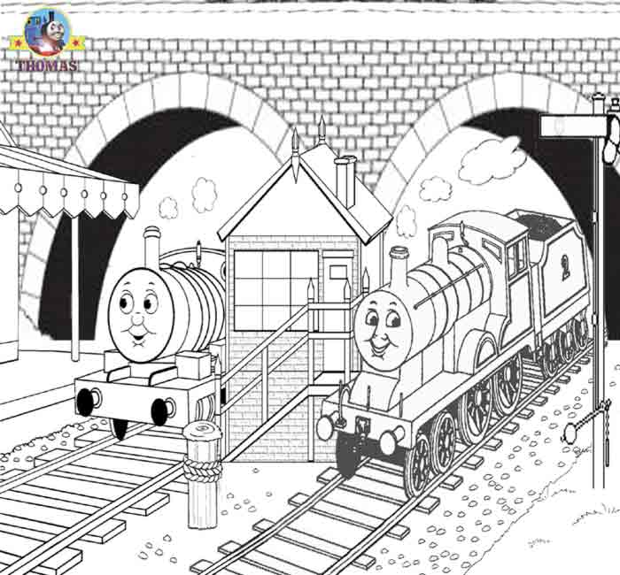 Thomas The Train Coloring Pictures For Children To Print Out Color Percy And Edward Blue