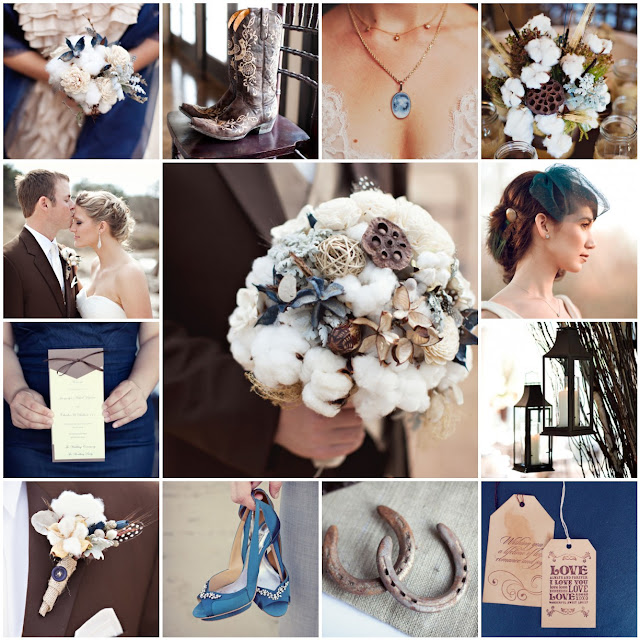 blue and brown ranch wedding