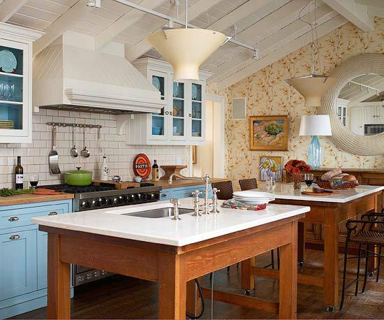 Cesar simonetti propiedades mueble isla para cocina for Blue and white country kitchen ideas