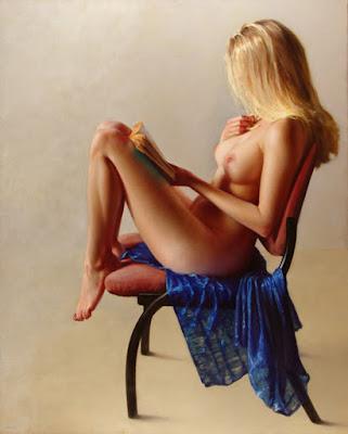 Pintura Hiperrealista Mujer Rubia Desnudo