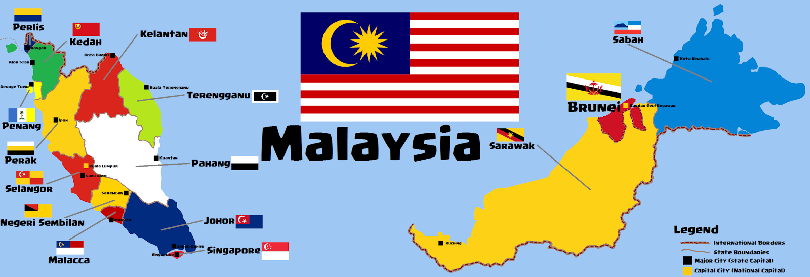 Map of Malaysia Merger Post Separation Peace Transquility
