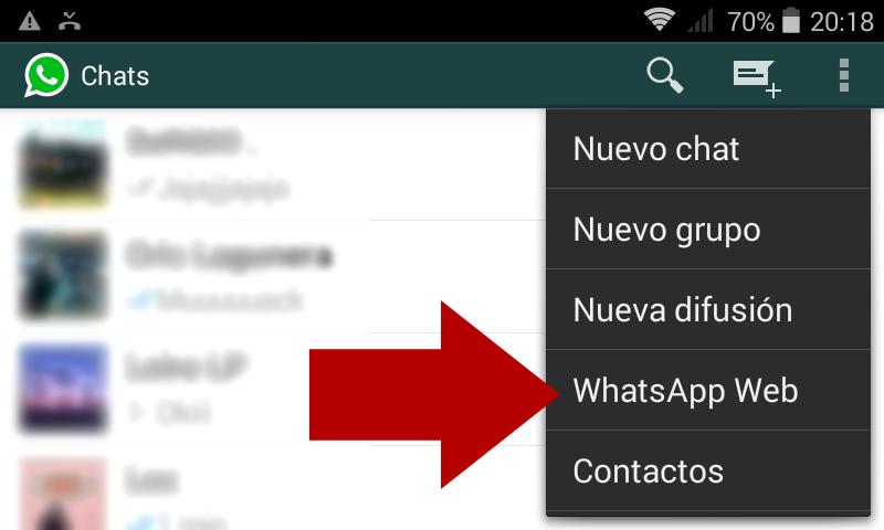 Versión web de WhatsApp, verificar que está actualizado el terminal
