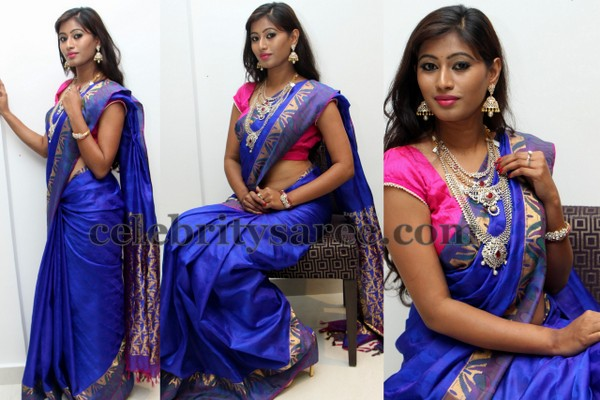 Shanthi Blue Silk Saree