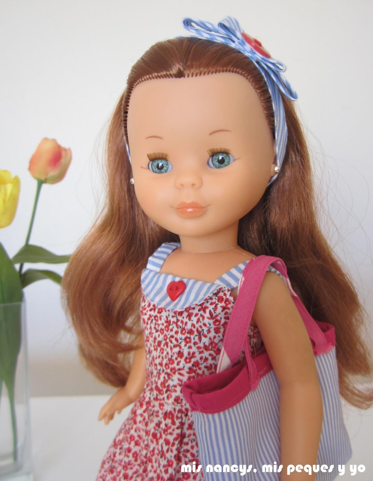 mis nancys, mis peques y yo, vestidos primavera para nancy de anilegra, detalle complementos bolso y diadema