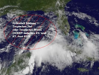 Potentieller Tropischer Sturm DEBBY bei Cancún und Playa del Carmen, Riviera Maya, Yucatán, Mexiko, Debby, aktuell, Juni, 2012, Yucatán, Golf von Mexiko, Florida, Playa del Carmen, Cancún, Satellitenbild Satellitenbilder, Riviera Maya, Mexiko, Atlantische Hurrikansaison, Karibik,