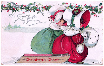 Vintage Christmas Clip Art - Bonnet Girls