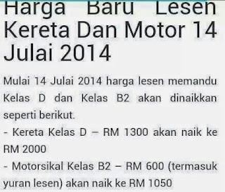 Harga Ambil Lesen Kereta Dan Motor Naik