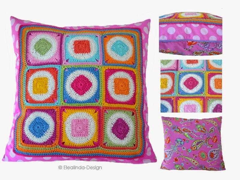 elealinda design granny square kissen retro style. Black Bedroom Furniture Sets. Home Design Ideas