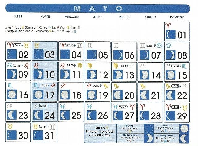 Centro astrologico venezolano calendario lunar mayo 2011 for Fase lunar mayo 2016