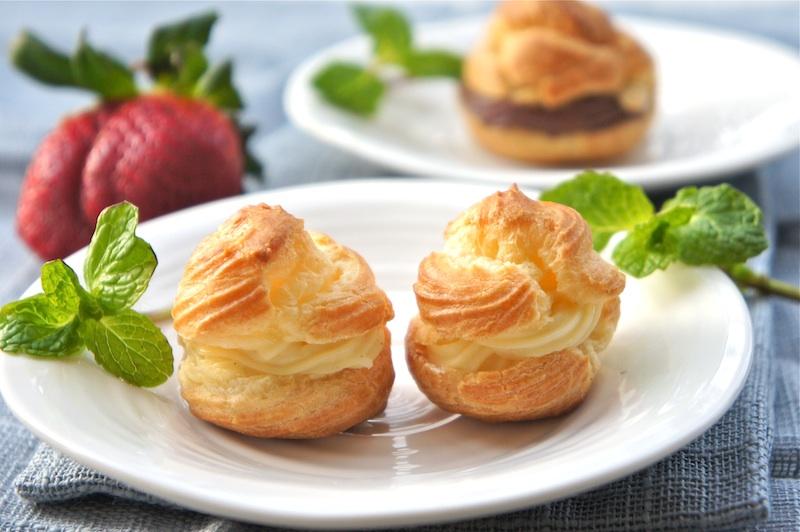 : Cream Puffs-Profiteroles With Vanilla And Chocolate Pastry Cream ...