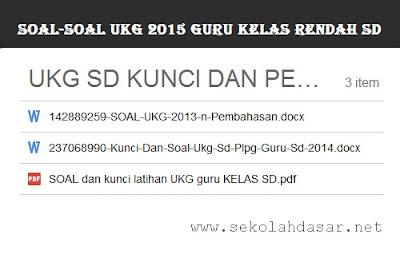 Soal-Soal UKG 2015 Untuk Guru SD Kelas Rendah