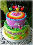 2 tiers B'day Cake-Garden Theme