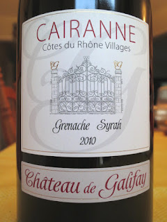 Label photo of 2010 Château de Galifay Cairanne from Rhône, France