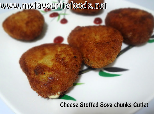 Cheese Stuffed Soya chunks Cutlet