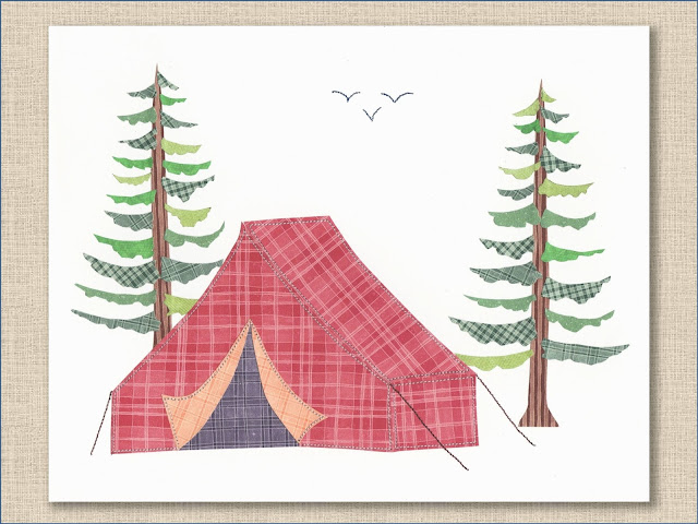 Red Camping Tent Collage Art Print - Whitehall Shop