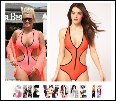 ASOS, Billie Faiers, Black, Cut Out Detail, Deep Neck, Exposed Waist, Exposed Zip, Halter-neck, Neon Orange, Orange, Plunging, Swimming Costume, Swimsuit, TOWIE, Trim Detail, V-Neck, Zip Front,
