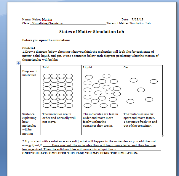Thermal energy and states of matter worksheet answers