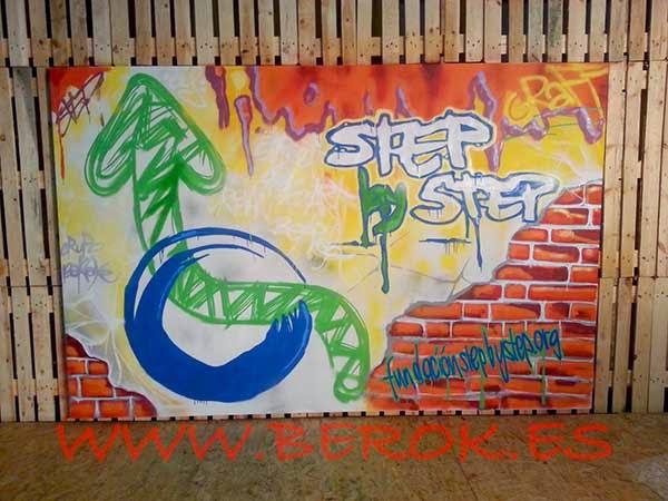 Mural pintado para la fundación Step by Step
