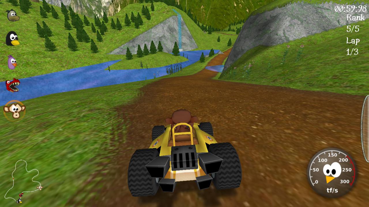 Permainan balapan seru Supertux Kart