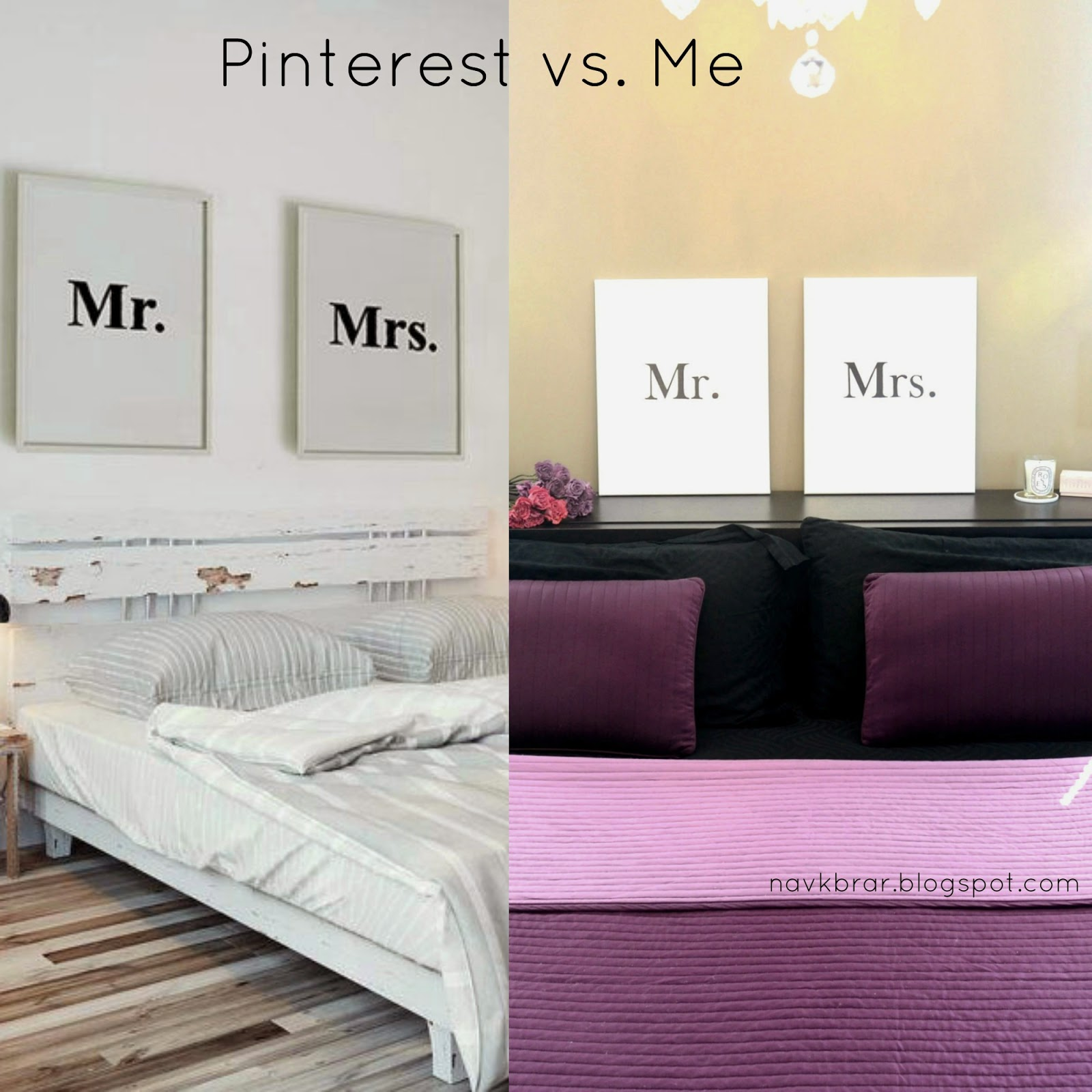 Mr and Mrs easy DIY signs black and white inspired by Pinterest
